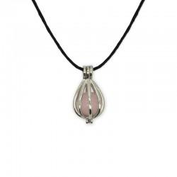 collier pendentif cage quartz rose