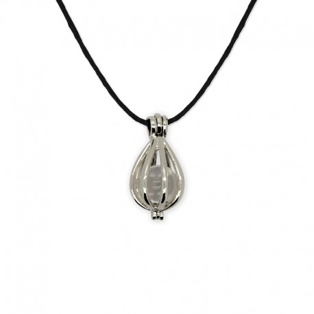 collier pendentif cage cristal de roche
