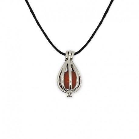 collier pendentif cage cornaline