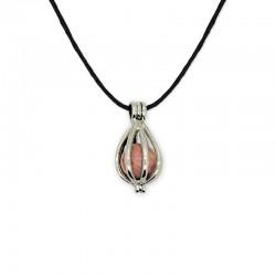collier pendentif cage rhodonite